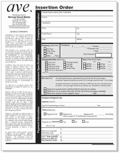 Insertion Order Form – The Avenue Times
